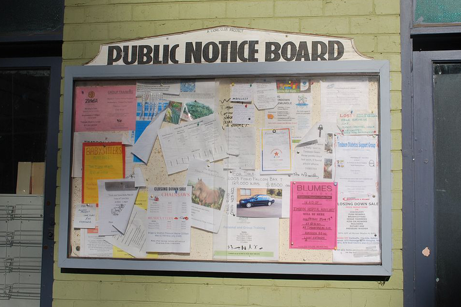 Timboon public notice board
